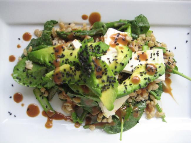 barley tofu spinach salad miso dressing
