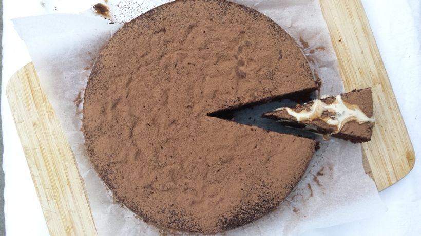 dark choc + date spelt cake